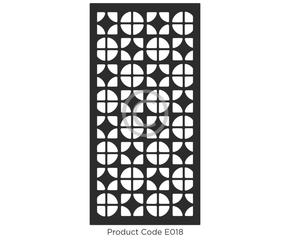 elysium decorative screen product code e018 geometric design of circles and squares covered in a grid - Decorative Screens