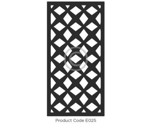 Elysium Decorative Screen Product Code E025 Geometric Design of crosses and diamonds